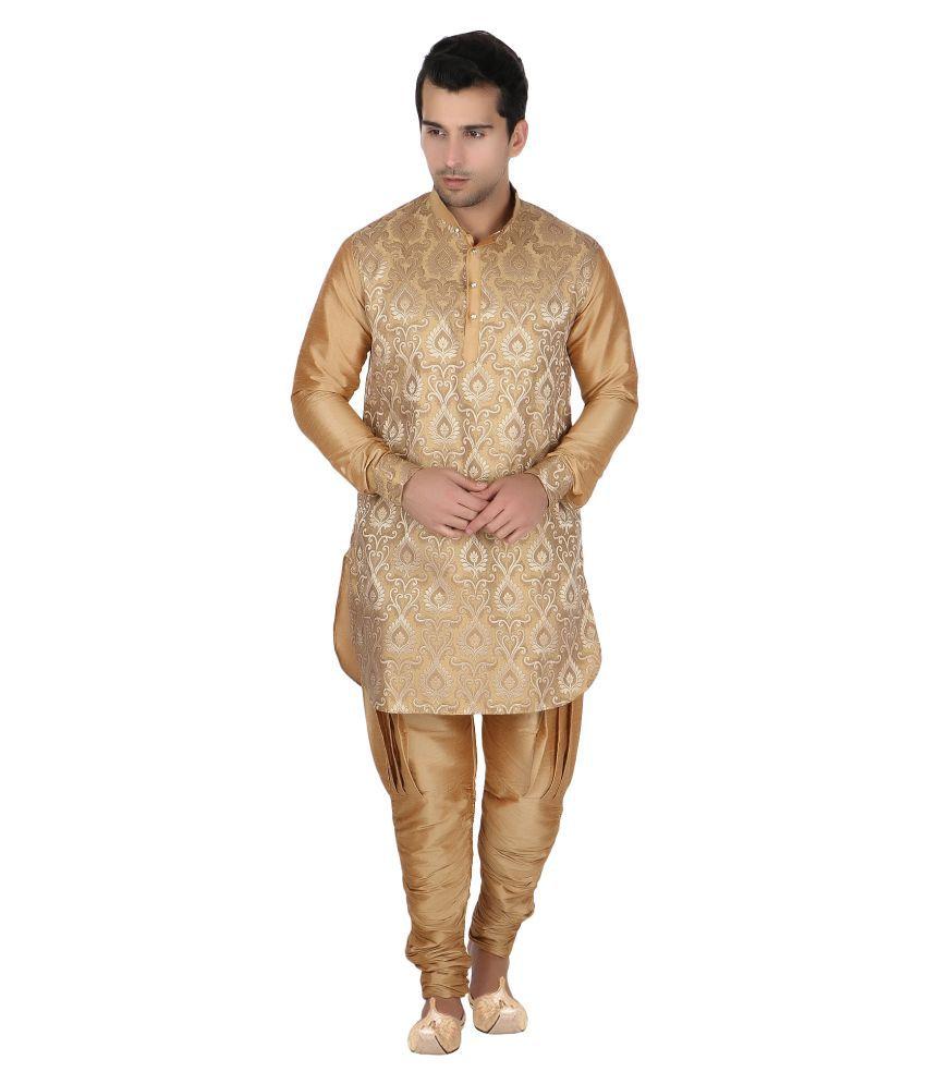 Khaan Saab Editions Gold Silk Sherwani