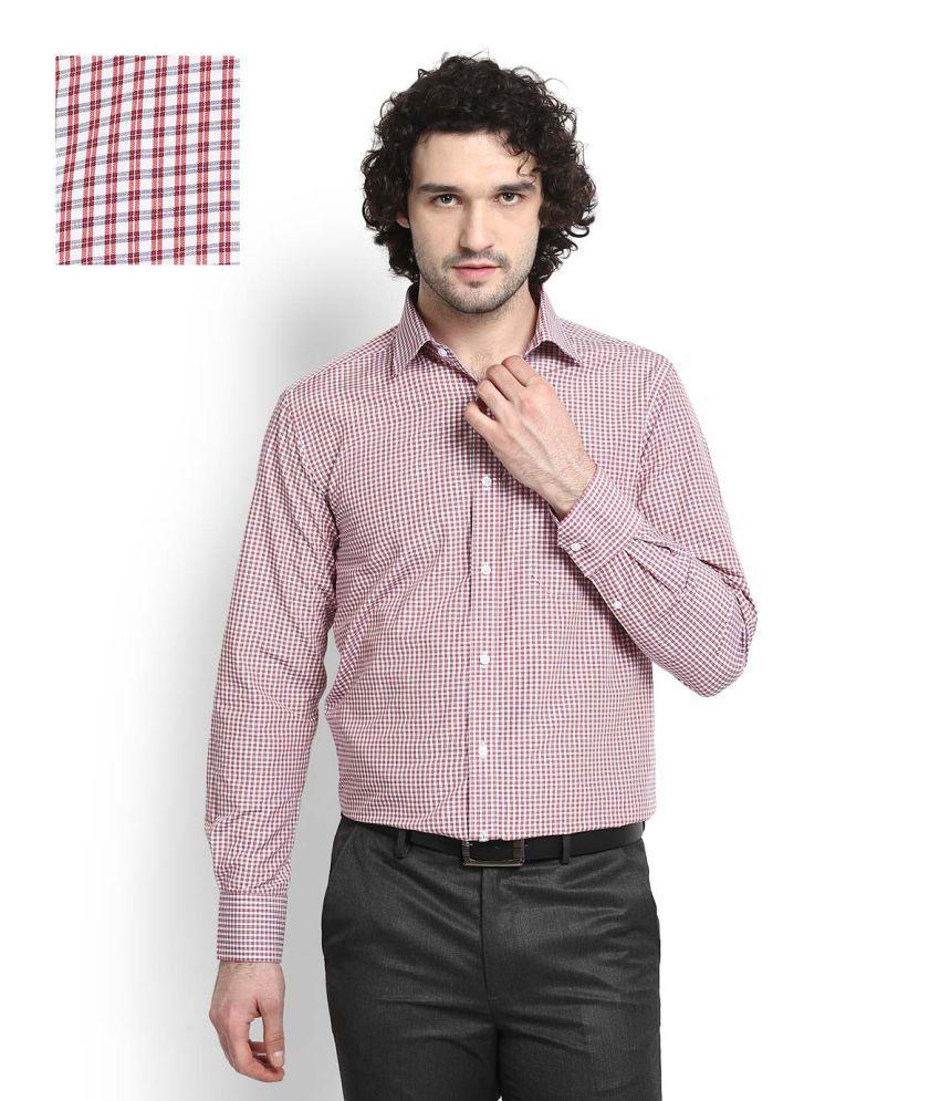 Peter England Red Formal Slim Fit Shirt