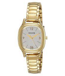 Sonata Womens Gold Analog Watch (8060ym01)