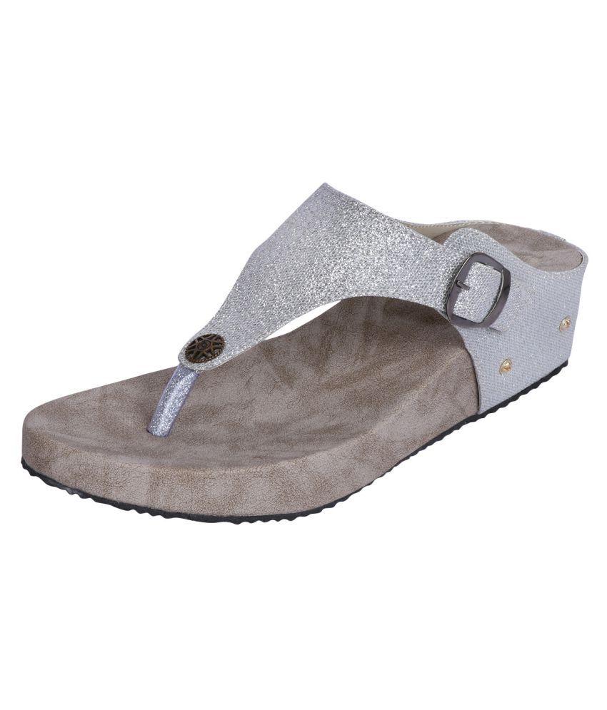 Smart Traders Silver Wedges Heels