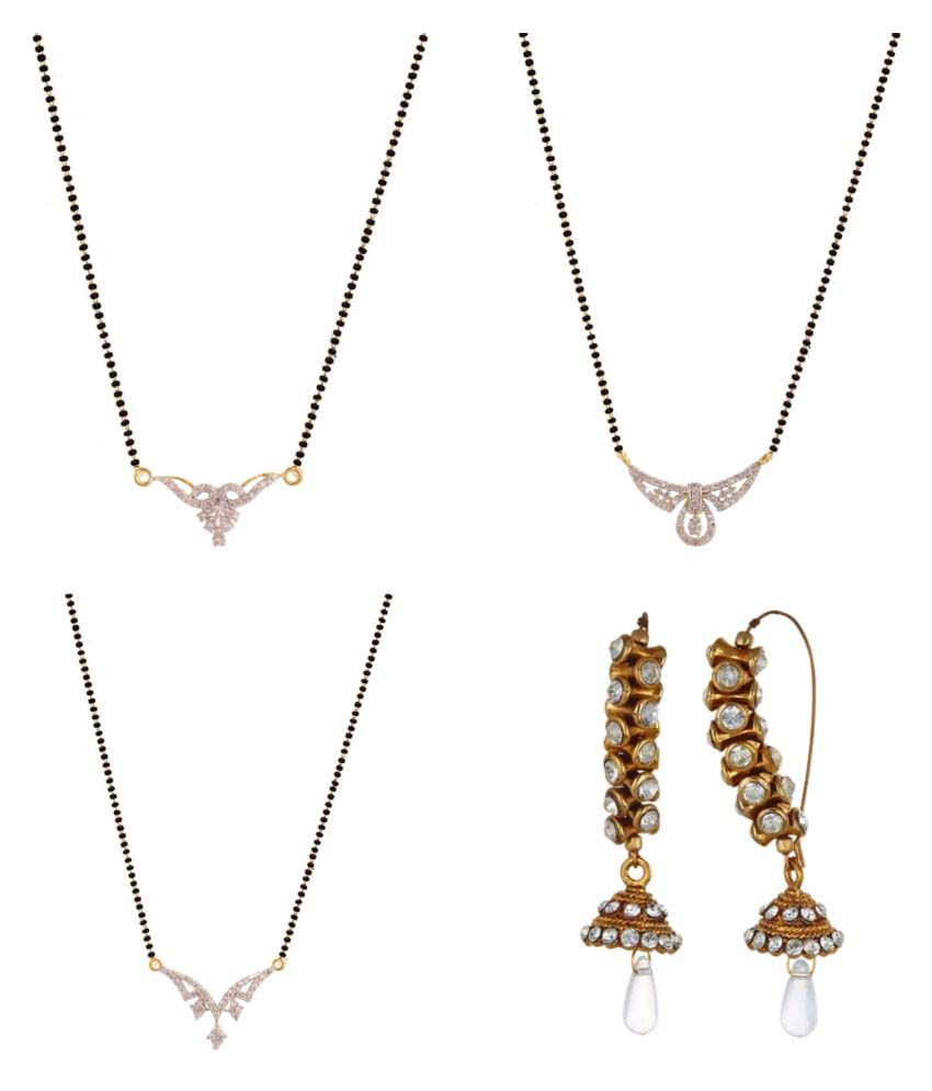 Archi Collection Set of 3 CZ Mangalsutra and Trendy Earring For Women