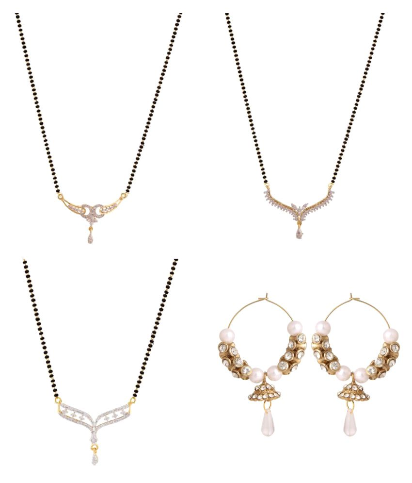 Efulgenz Set of 3 Mangalsutras and 1 Pair of Earrings