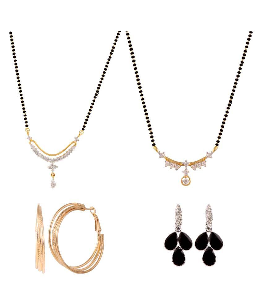 Efulgenz Set of CZ Mangalsutra and Trendy Earrings For Women