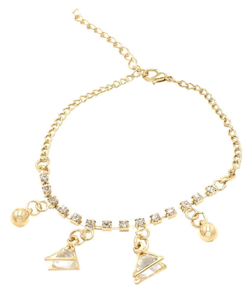 Fashblush Golden Vintage Triangle Ball Drops Charm Alloy Anklet