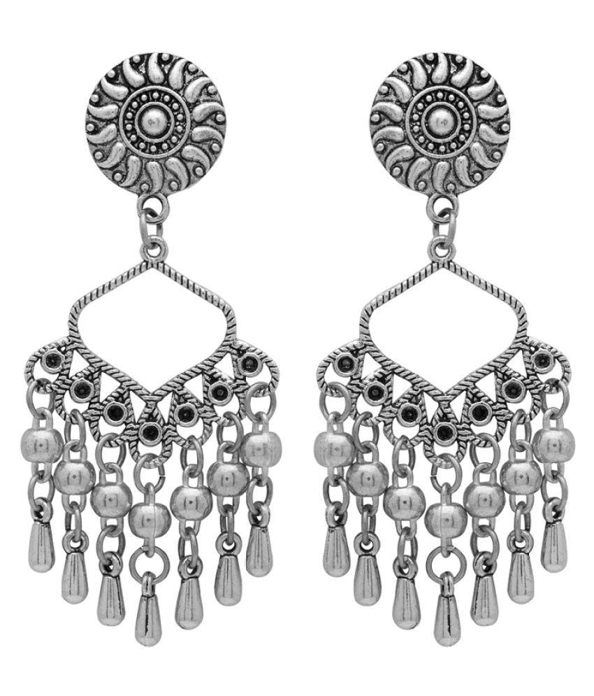 Voylla Stylish Oxidized Silver Dangler Earrings