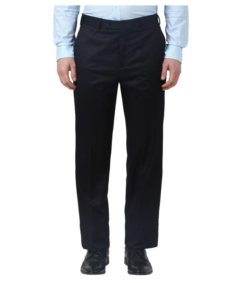 Park Avenue Black Regular Flat Trousers