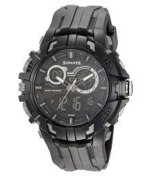 Sonata Analog-digital Black Mens Watch-77045pp02