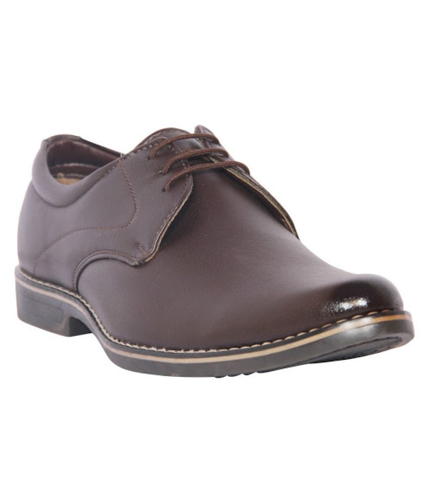 Leather Chief Brown Derby Artificial Leather Formal Shoes