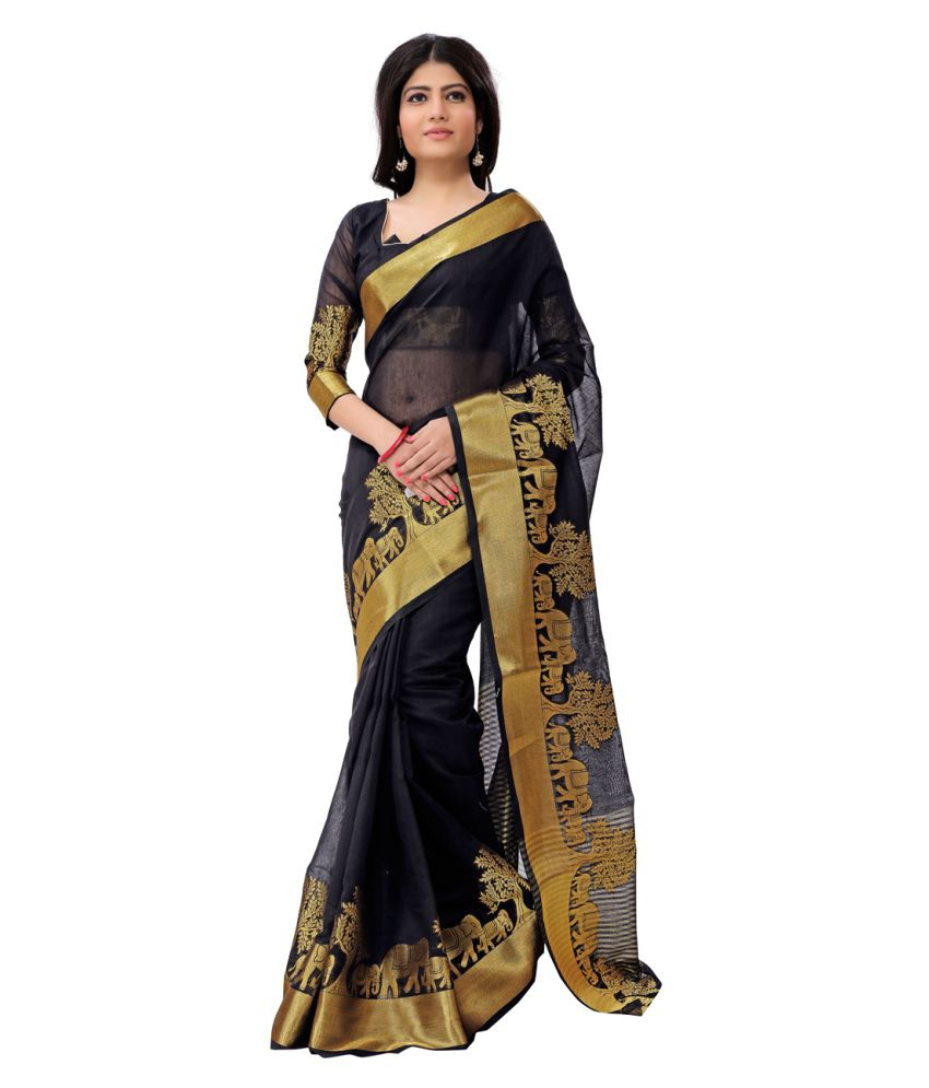 Just Fashion Black Cotton Saree
