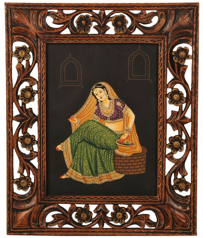 shivika enterprises Wooden Lady Figurine Paper Painting with Traditional Photo Frame