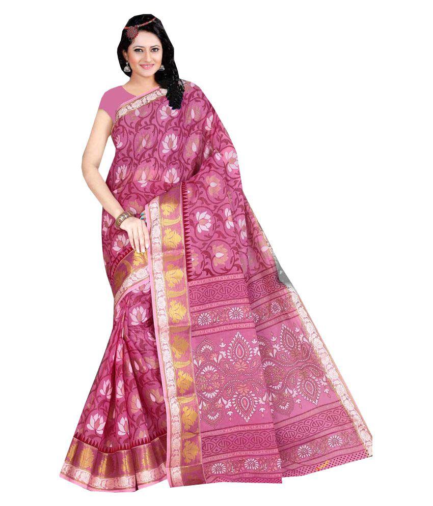 Aarti Apparels Pink Cotton Saree