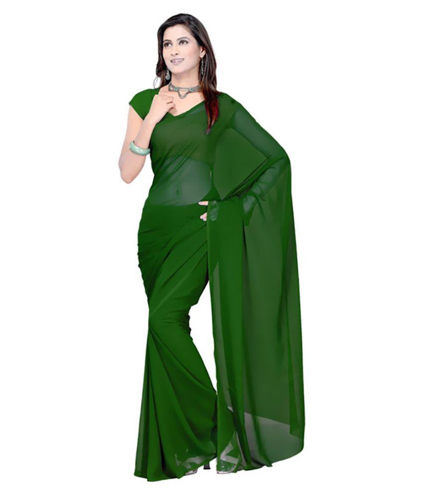 Vel Creations Green Georgette Saree