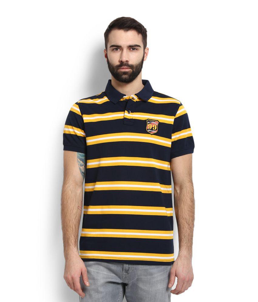 Peter England Blue High Neck T-Shirt