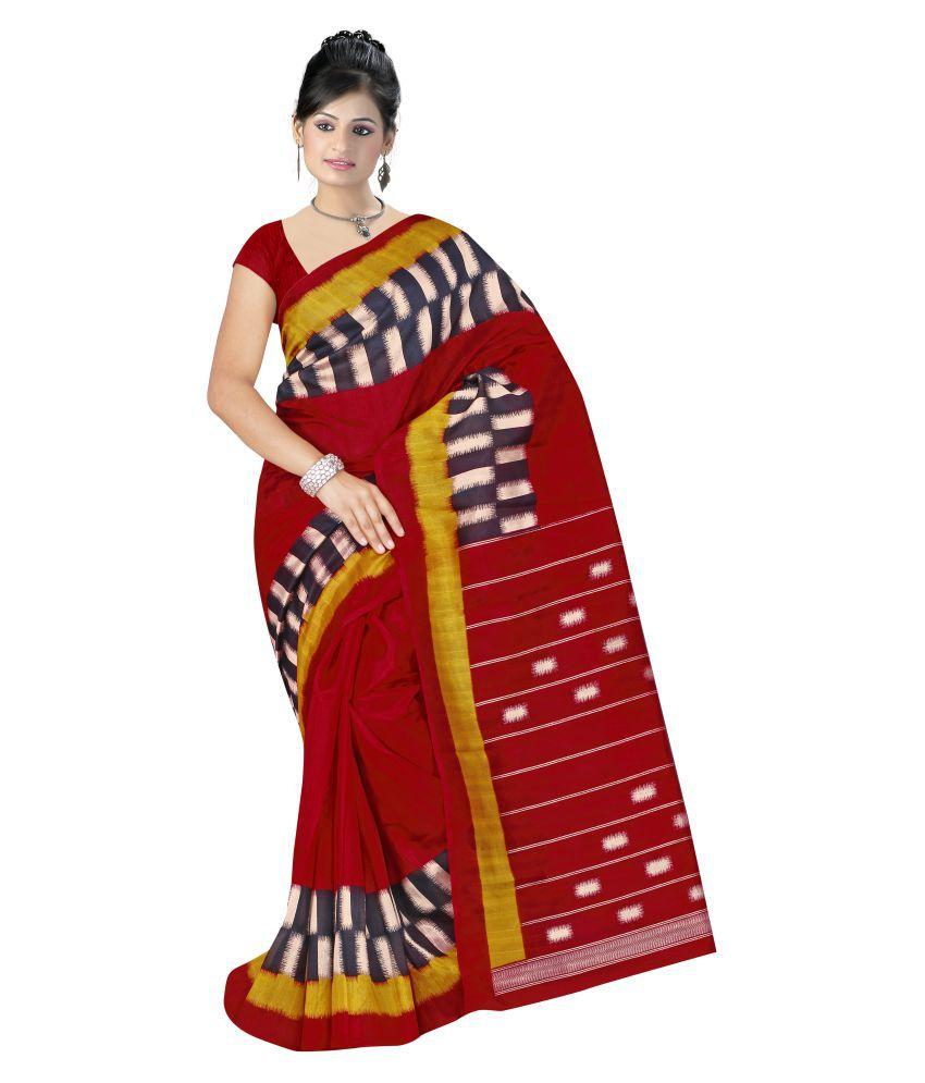 Fashion Forever Red Bhagalpuri Silk Saree