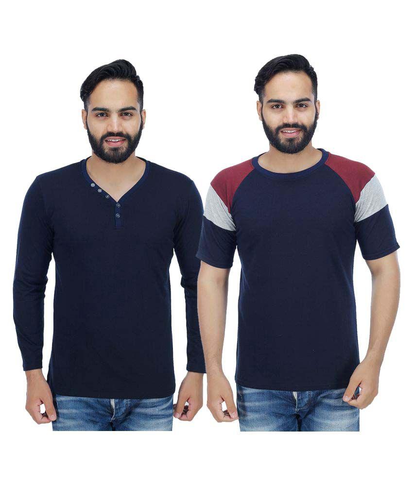 Christy World Navy Henley T-Shirt Pack of 2