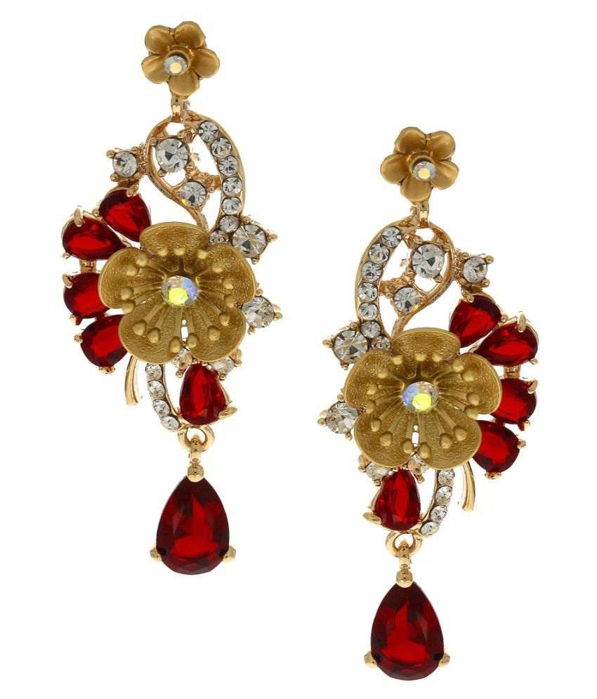 Anuradha Art Multicolour Finish Styled with Red Colour Studded Shimmering Stone Long Party Wear Fancy Earrings for Women