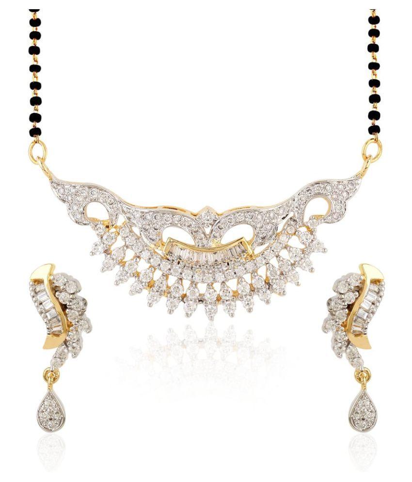 Jewels Galaxy Floral Gold Design American Diamond Mangalsutra Set