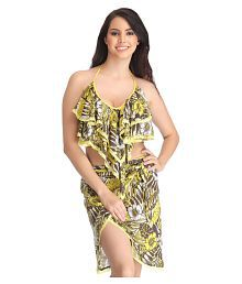 Clovia Poly Cotton Two Piece Swimsuit With Skirt