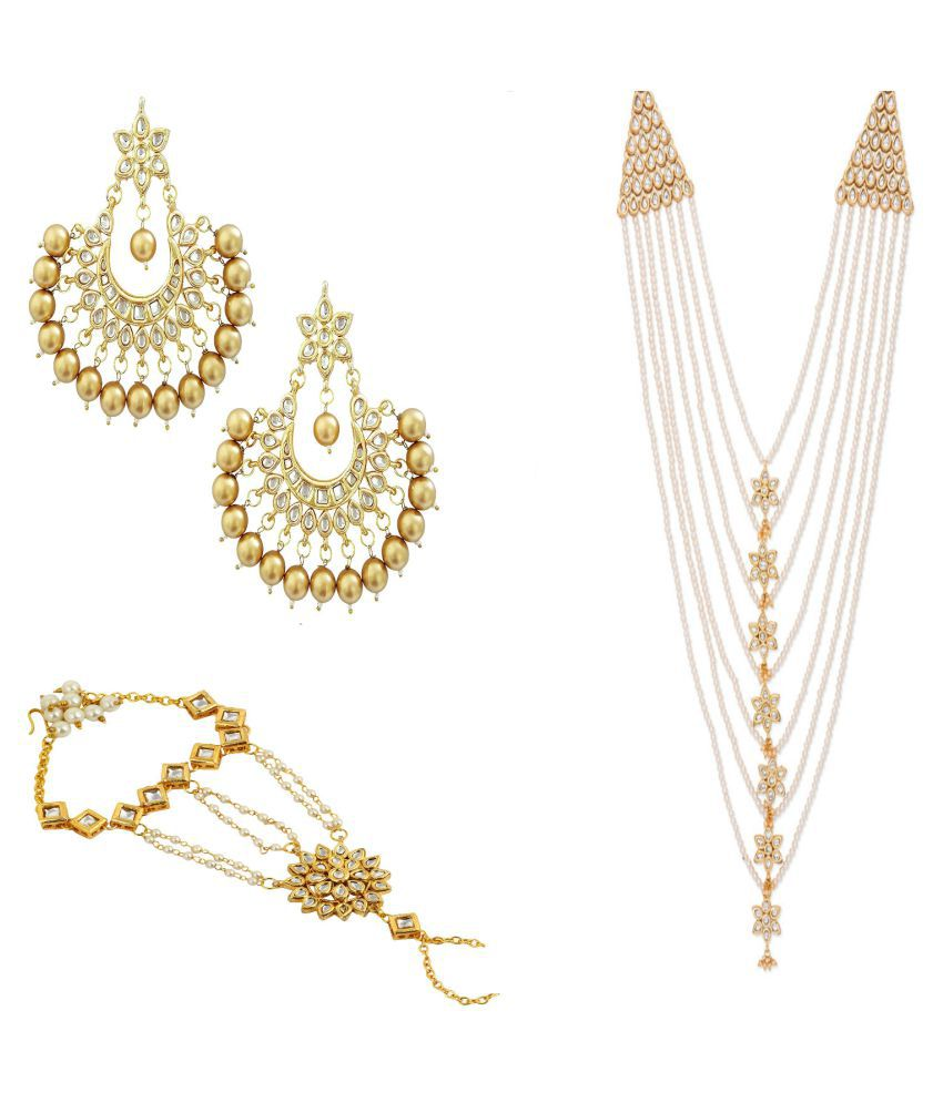 Bridalnirvana Golden Pearl Necklace with Earrings and Hathphool