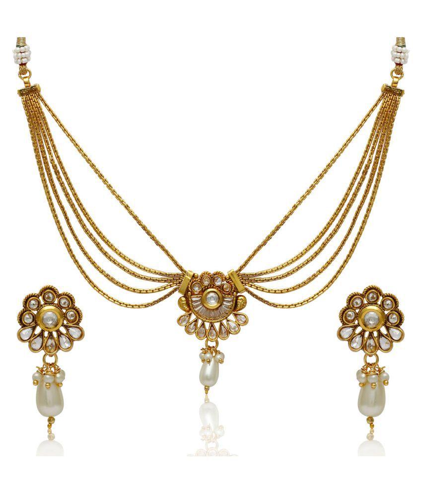 Jewels Galaxy Multicolor Bridal Traditional Wedding Necklaces Set