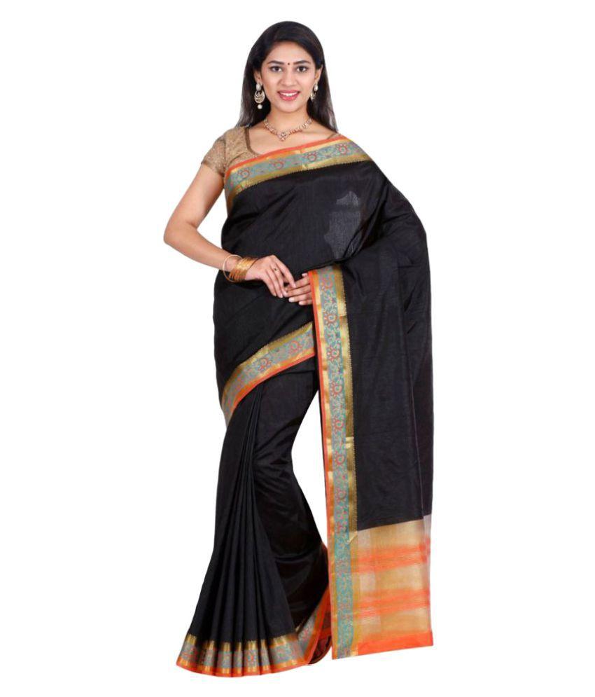 The Chennai Silks Black Tussar Silk Saree