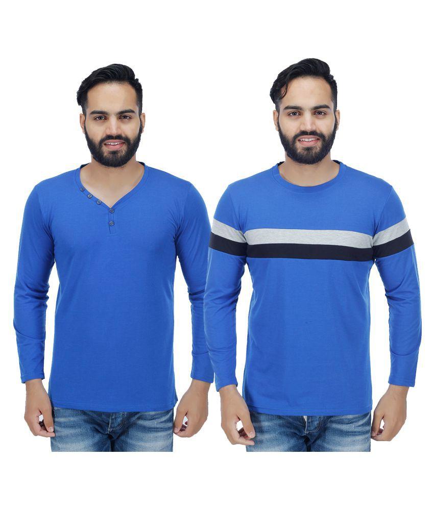 Sanvi Traders Blue Henley T-Shirt Pack of 2