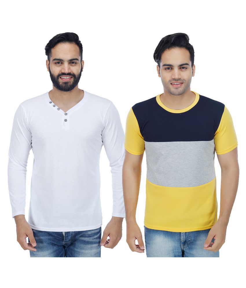 Sanvi Traders Multi Henley T-Shirt Pack of 2