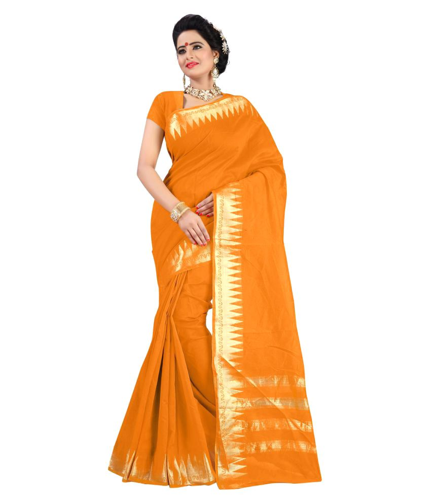 Genius Creation Orange Cotton Saree