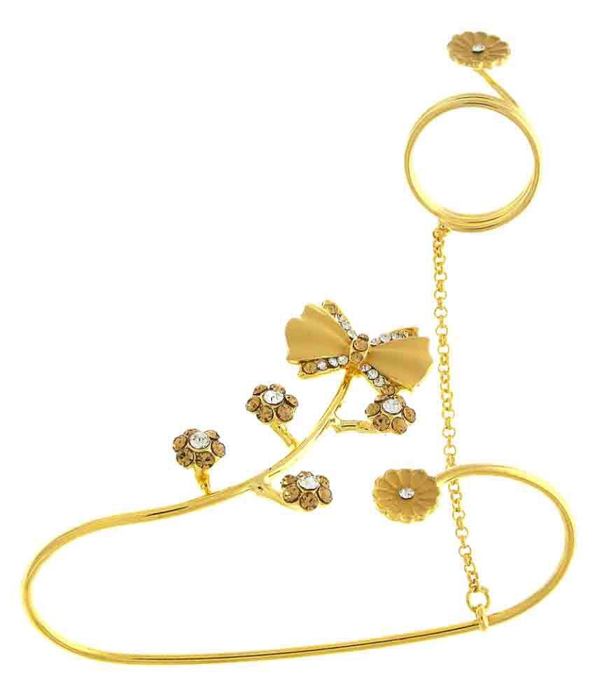 Anuradha Art Golden Finish Styled with Studded Stone Designer Palm Bracelet with Finger Ring for Women