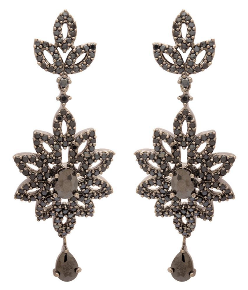 Navrang Black Stones Studded Designer Earrings for Women