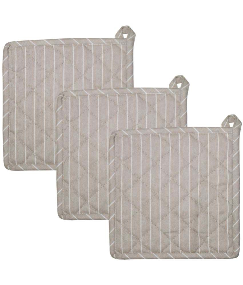 Airwill Cotton Designer Kitchen Linen Set of Oven Pot Holders (Pack of 3 pcs)