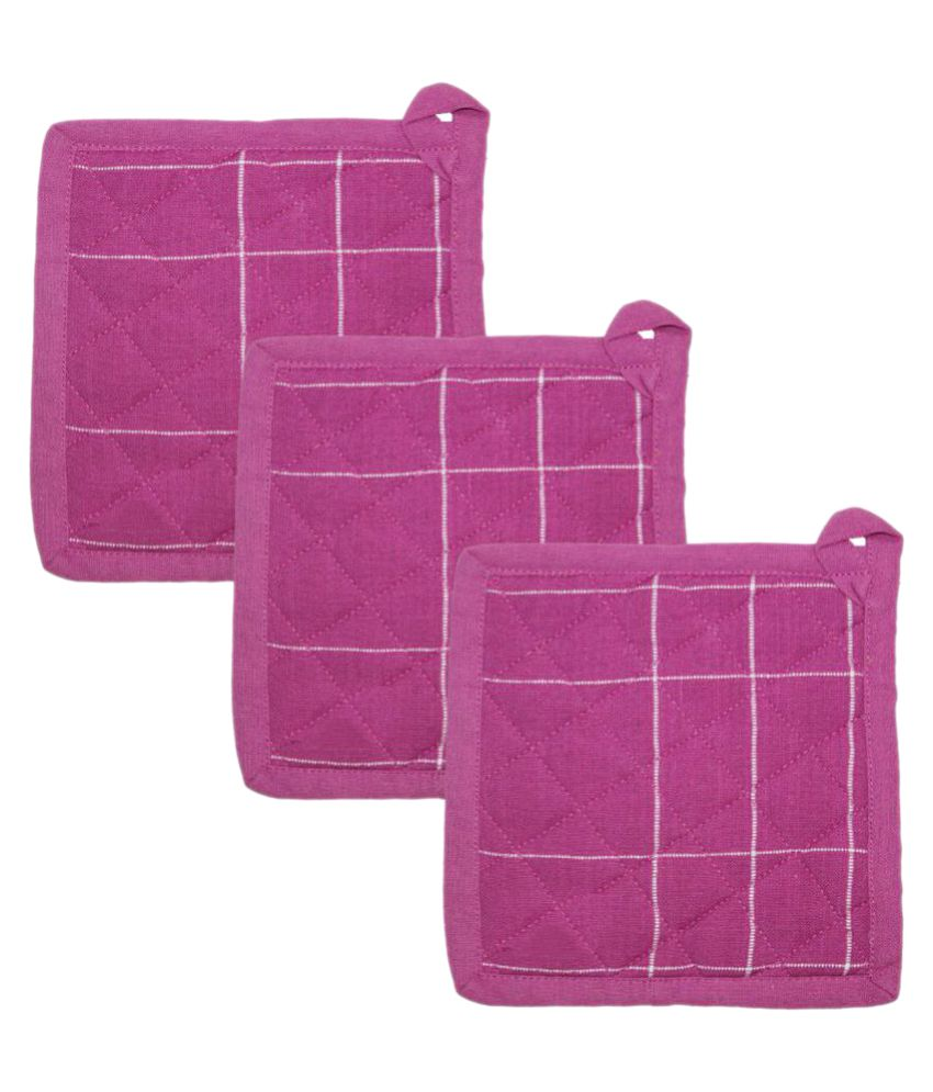 Airwill Pink Cotton Oven Pot Holders - Set of 3 Pcs