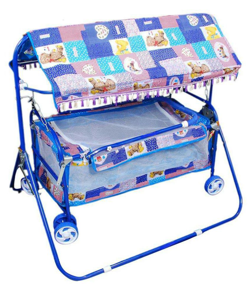 Shivaay Trading Co. Blue Baby Cradle Cum Cot Cum Stroller With Hood.