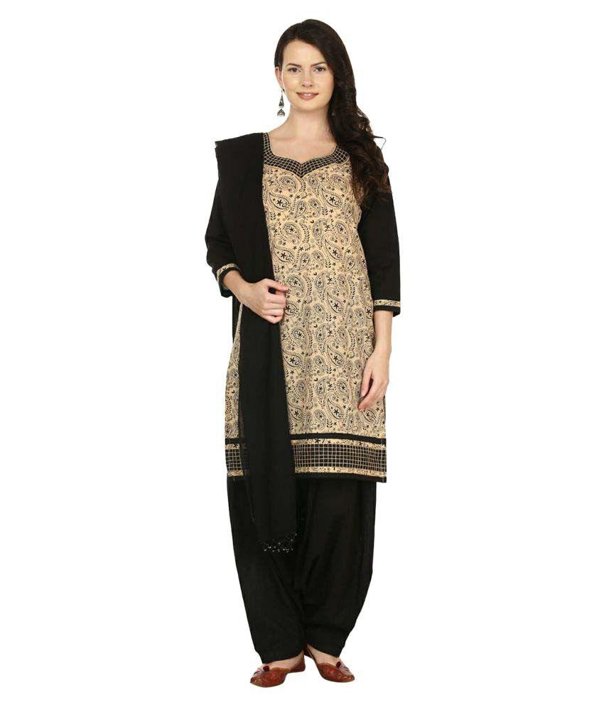 Aavaya Fashion Multicoloured Cotton Straight Stitched Suit