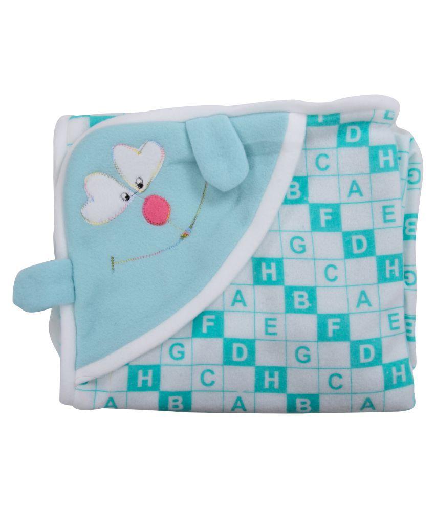 Joy Mart Blue Cotton Baby Wrap cum blanket ( 86 cm × 28 cm - 1 pcs)