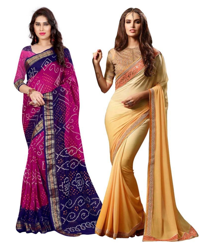 The Mammoth Store Multicoloured Cotton Silk Saree Combos