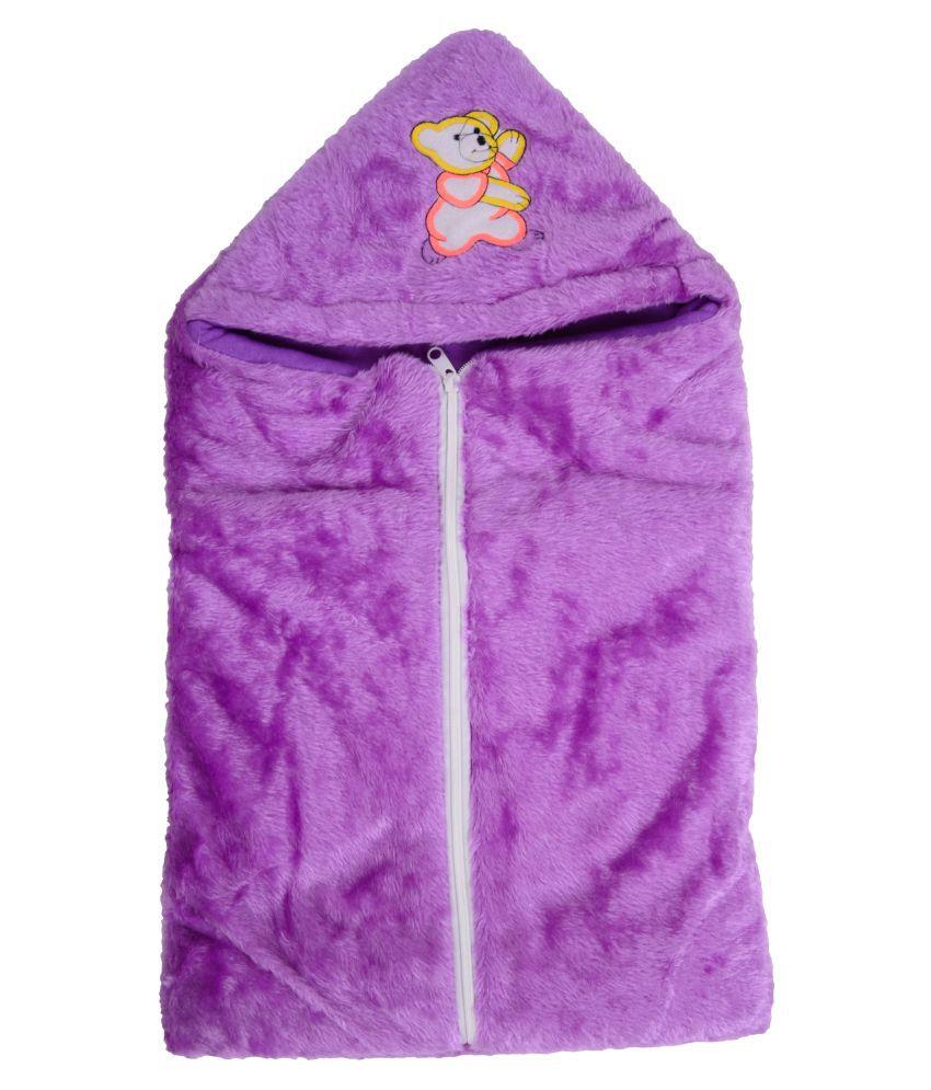 Joy Mart Purple Cotton Baby Wrap cum blanket ( 25 cm × 14 cm - 1 pcs)