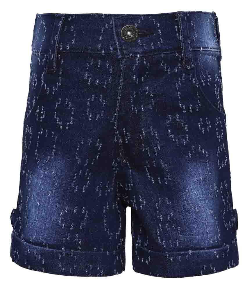 Punkster Blue Denim Stretchable Waist Short for Girls