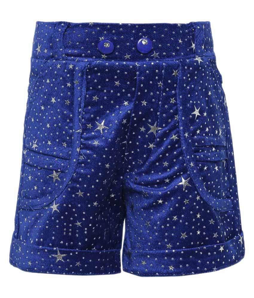 Punkster Blue Velvet Bermudas Stretchable For Girls