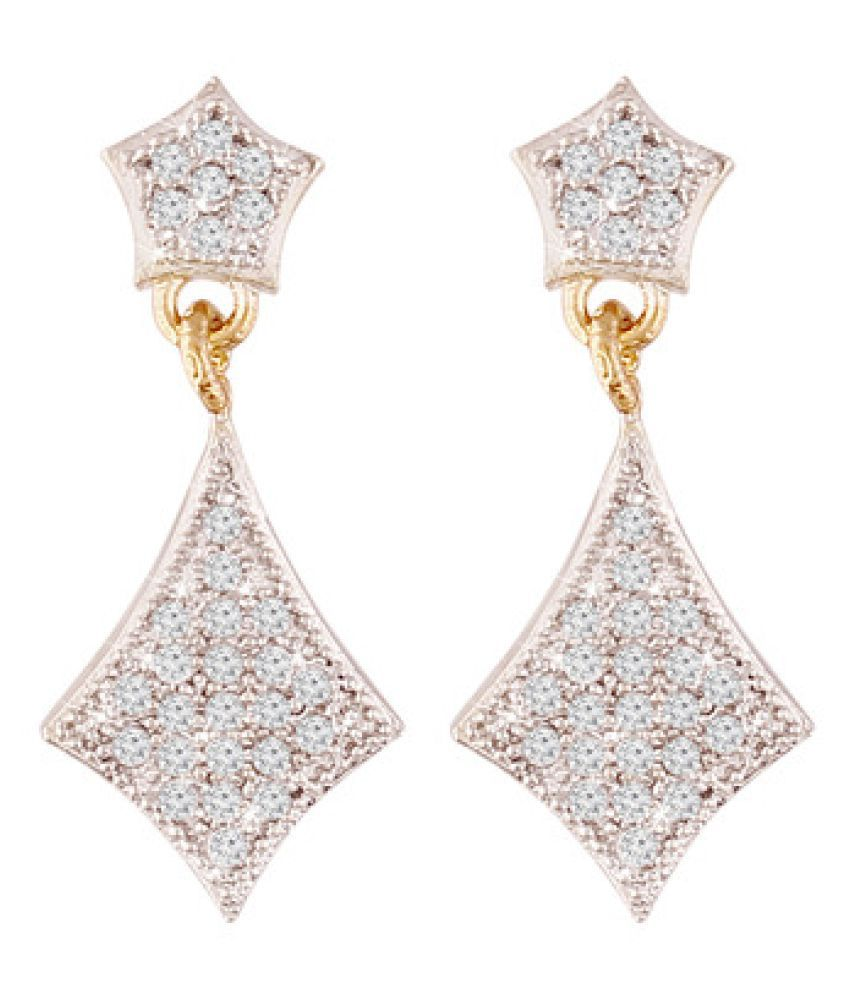I Jewels Fashion American Diamond Hanging Earrings For Women