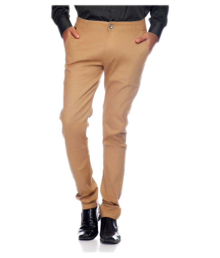 Ansh Fashion Wear Beige Slim Flat Chinos