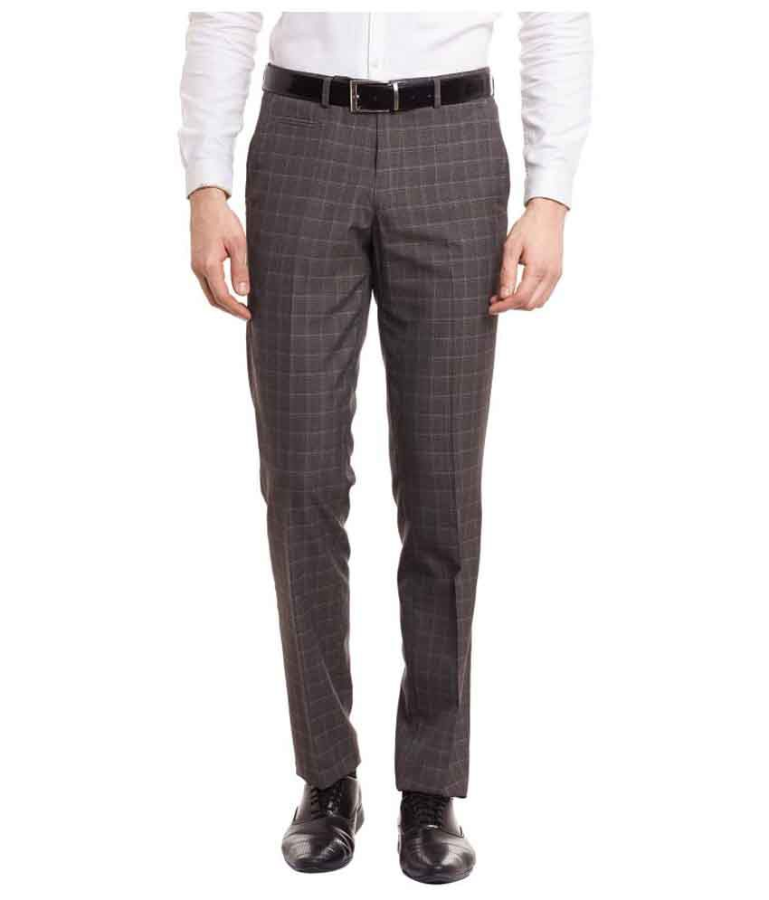 Envoy Grey Slim Flat Trousers