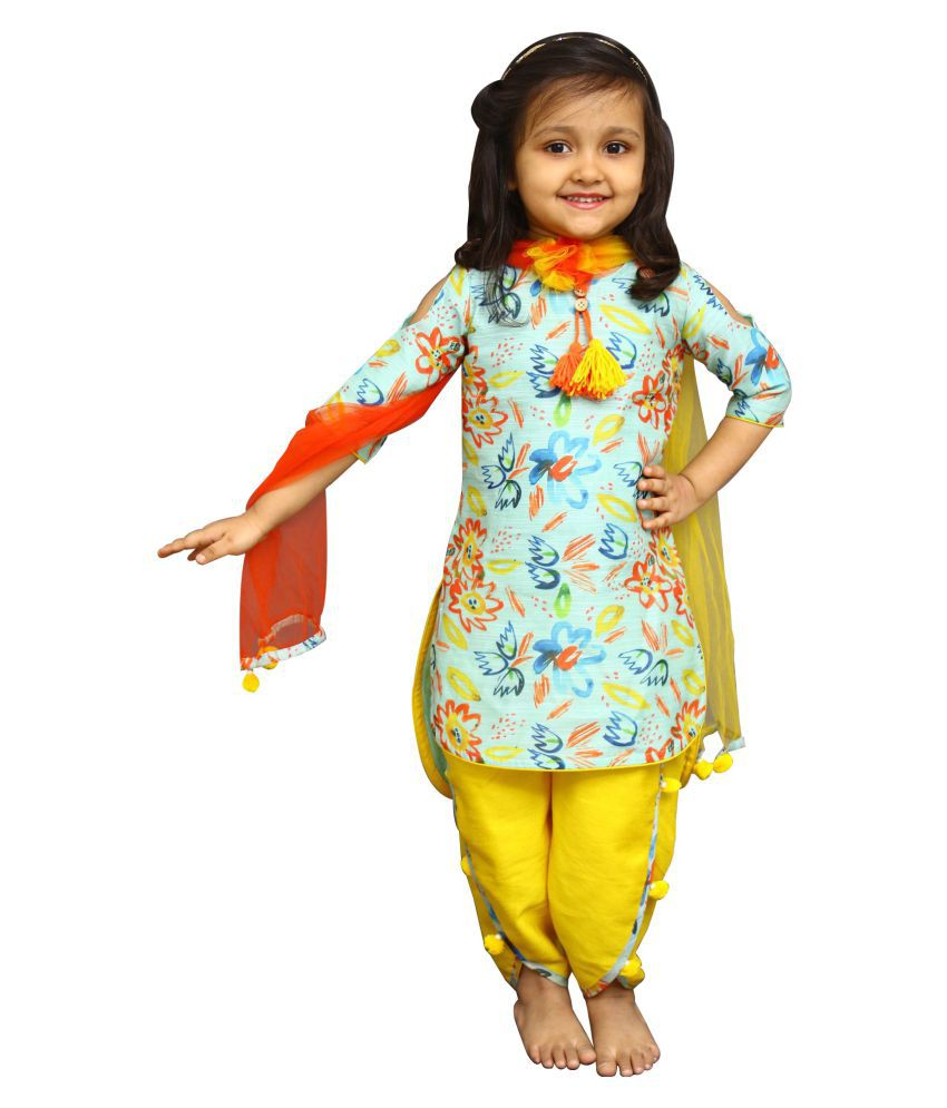 White Button Multicolour Partywear Salwar Suit for Girls
