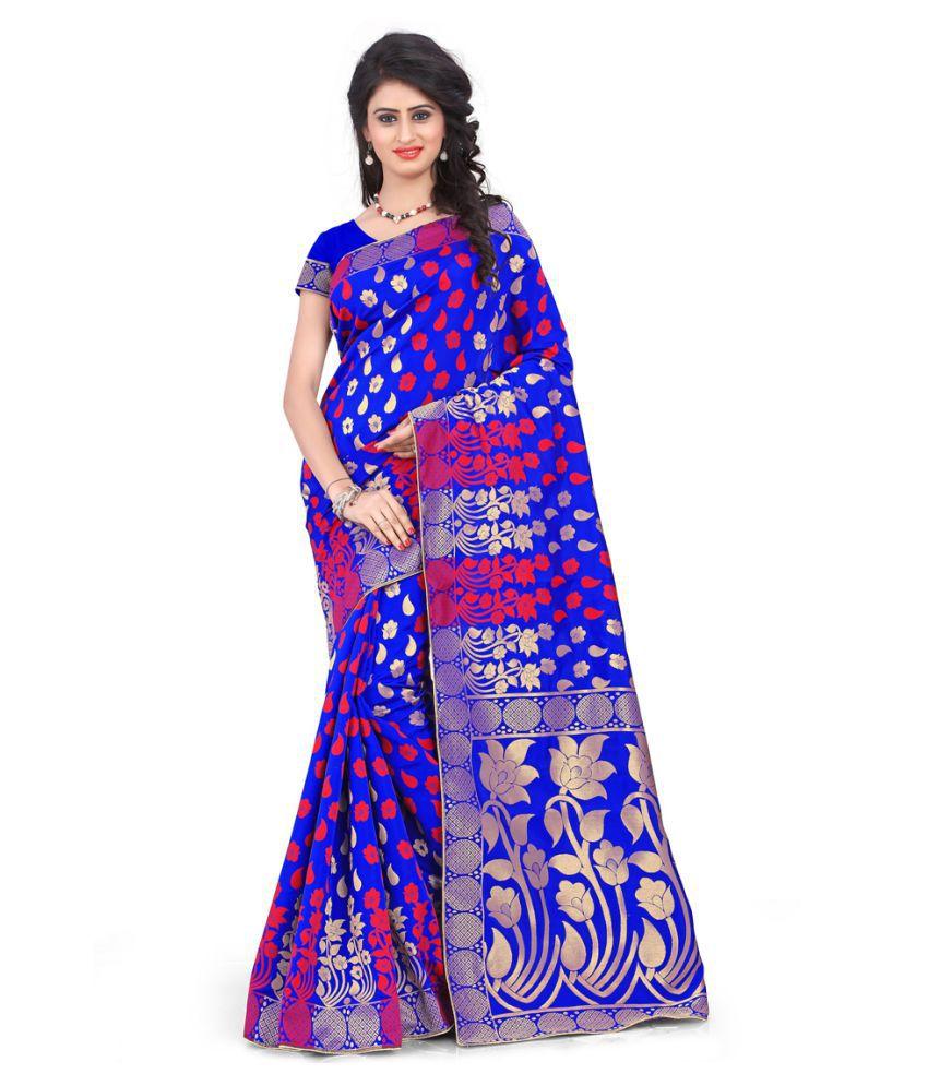 Skyzone Group Blue Banarasi Silk Saree