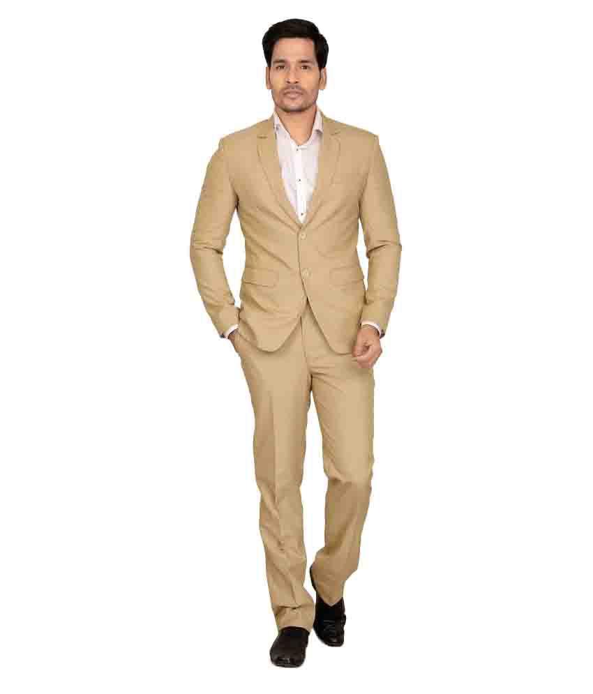 Nu Abc Garments Beige Solid Formal 2 Piece Suits