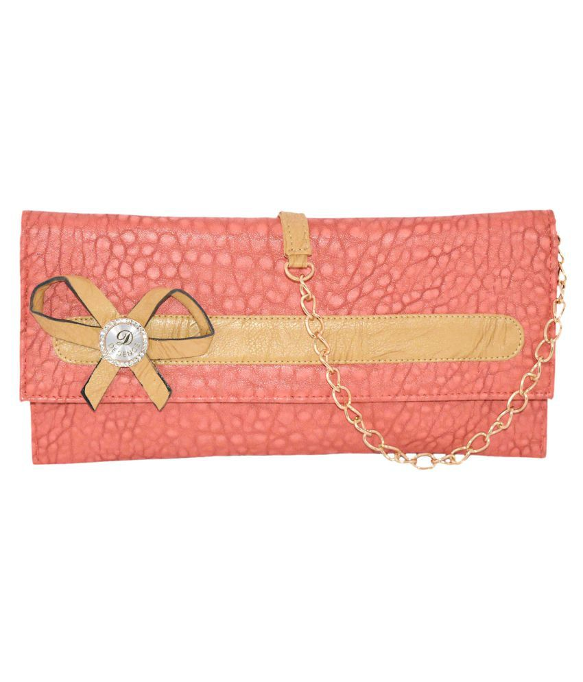 Quick Fashion PeachPuff Faux Leather Handheld