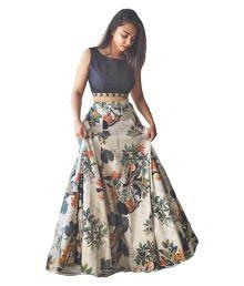 Omstar Fashion Multicoloured Art Silk Semi Stitched Lehenga