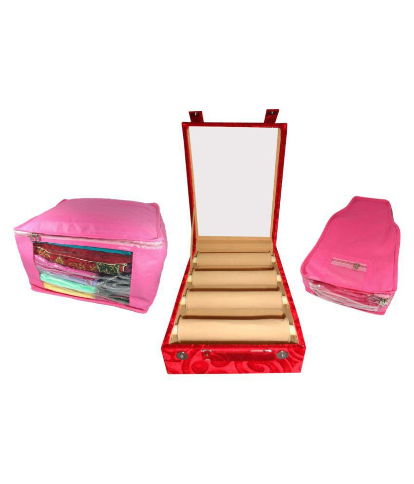 Abhinidi Combo Deal 4 Roll Maroon Transparent Bangle Box Pink Large Saree Cover And Pink Blouse Cover