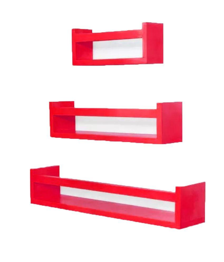 Onlineshoppee Floating Shelf/ Wall Shelf / Storage Shelf/ Decoration Shelf Red Set of 3