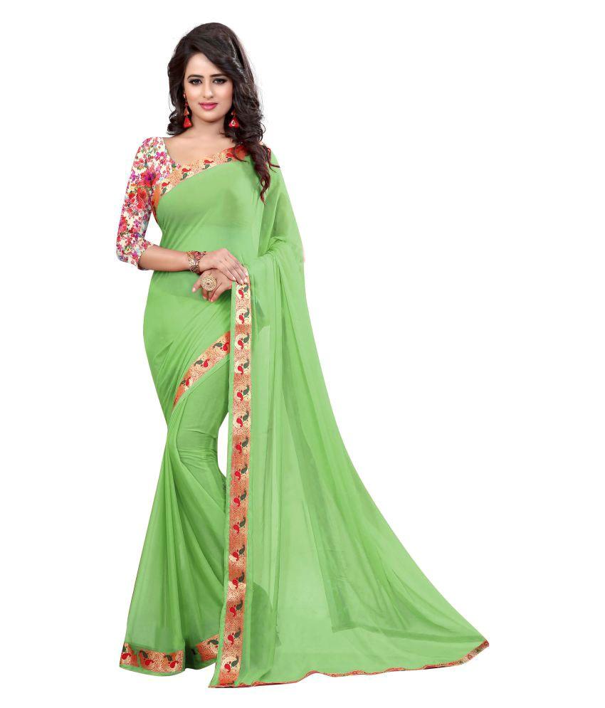 A And V Fashion Green Chiffon Saree